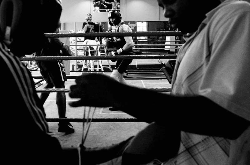 Danny(centre) spars with one of the american imports at the Marrickville gym, brought in specifically for training ahead of his bout.All pictures © Sam Mooy/NEWS LIMITED 2010