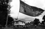 An Australian flag is hung at halfmast on an affected property in the township of Grantham, Queensland, after the 2011 floods. © Sam Mooy 2011