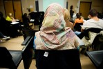 Ambreen sits in her Women and Development class at Ryerson University.