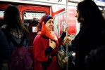 Reema and her friends on the subway.