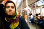Ambreen on the subway.