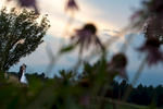 Le Baron Hills Country Club beautiful wedding photography of bride and groom with flowers at sunset.