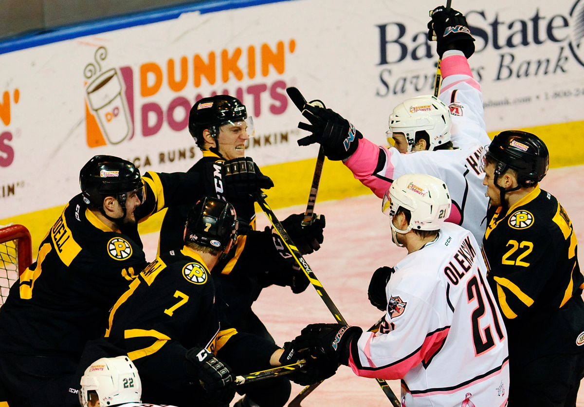 The Worcester Shark Eriah Hayes celebrates his goal in the first period as Providence Bruins get ready to fight on Saturday, Jan. 31, 2015.