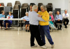 Ron Brunelle of Yarmouth and his partner Pat Ballo point to finish their round dance during the Nau-sets square dancing night at the Dennis Senior Center. {quote}I always wanted to do it, I just needed to find someone to dance with,{quote} he said.