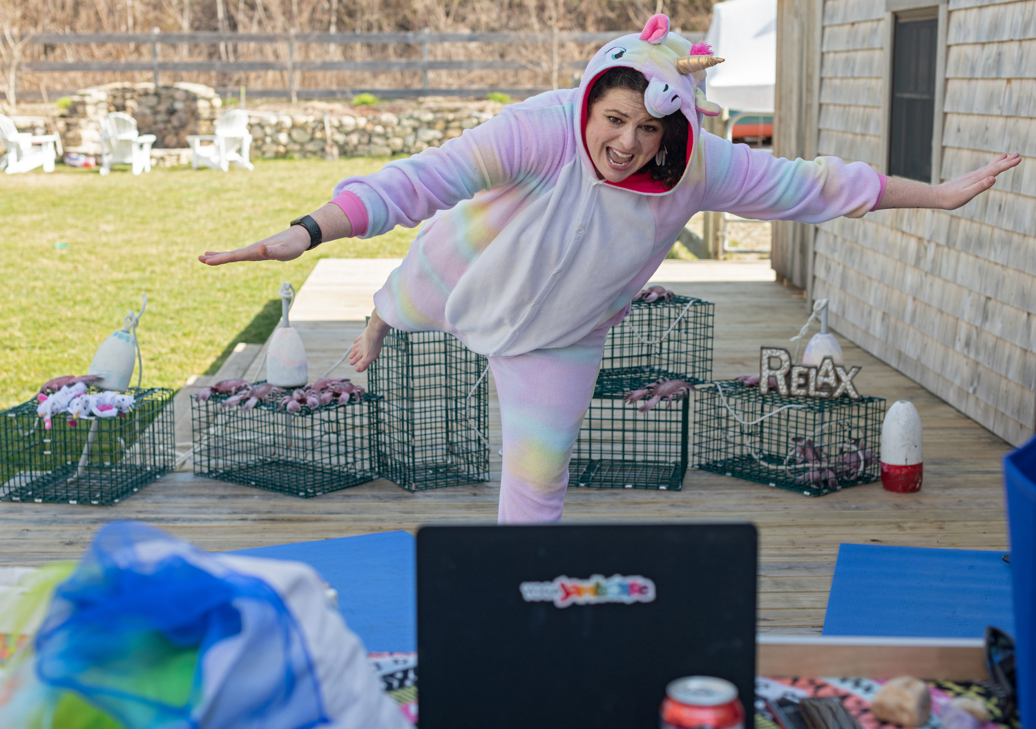 EAST SANDWICH - Britt Burbank AKA Miss Britt, owner of Kids Yoga Jamboree, started offering free live yoga classes for kids via Facebook. Not only does she dress up in various festive onesies but she makes kids and parents laugh out loud with her vibrant personality.