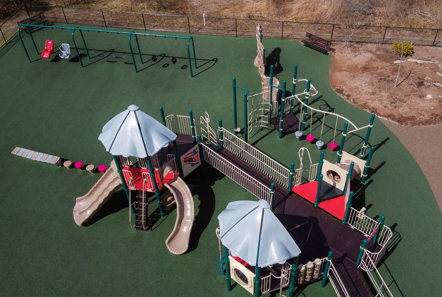 WEST BARNSTABLE - Luke's Love, a popular playground off of Route 149, was vacant on Friday, March 27, 2020 despite the sunny and warm spring weather.