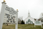 WEST YARMOUTH - A solemn message outside West Yarmouth Congregation Church on Monday, March 30, 2020.