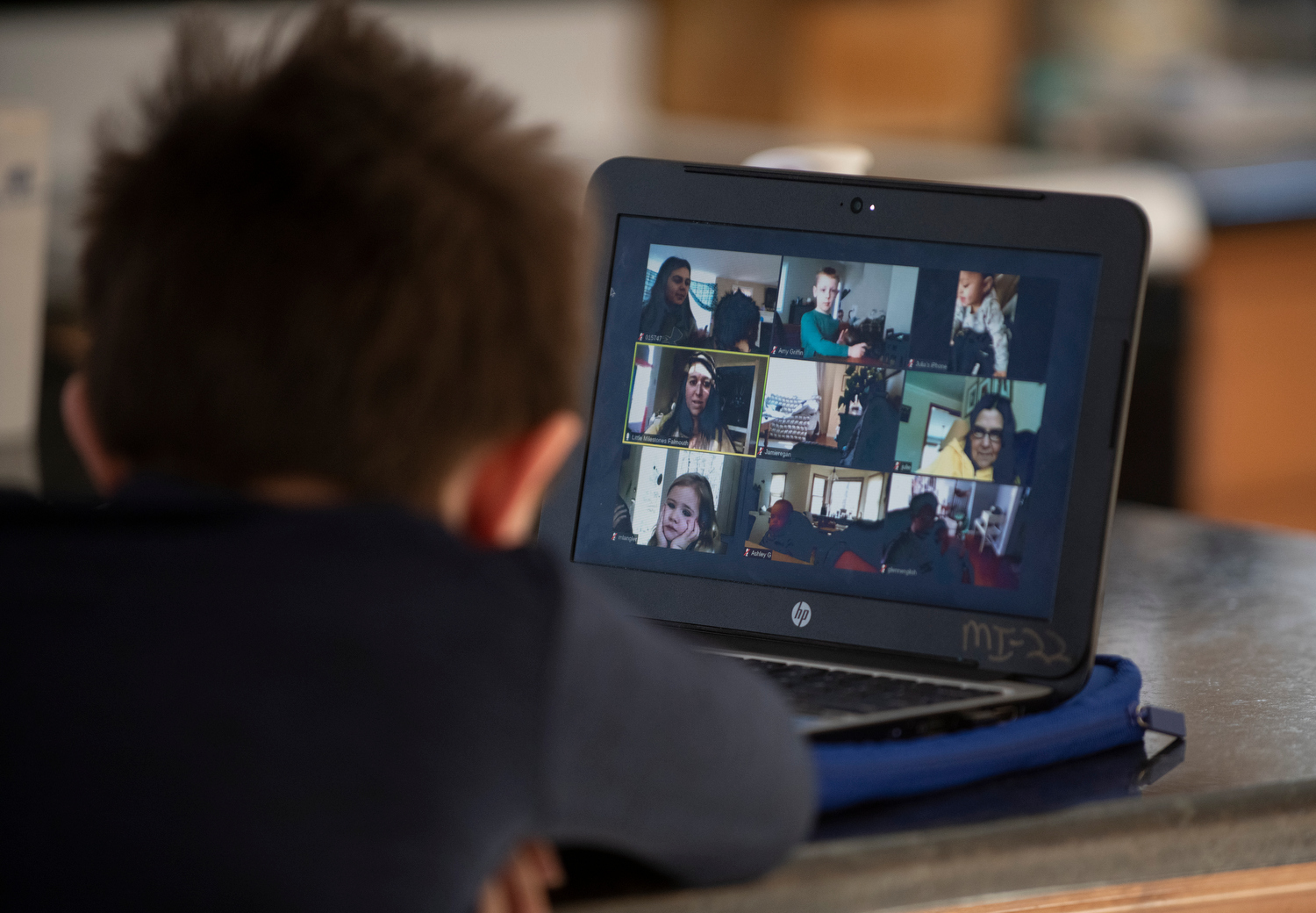 """EAST FALMOUTH - Connor Velardo, 5, attends """"circle time"""" via Zoom with his preschool class at Little Milestones. He enjoys seeing his classmates and teachers for their daily """"good morning"""" ritual."""