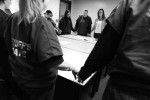 Barnstable County Correctional Facility inmate Desiree Azarian prays with fellow inmates at the closing of the Celebrate Recovery group meeting.