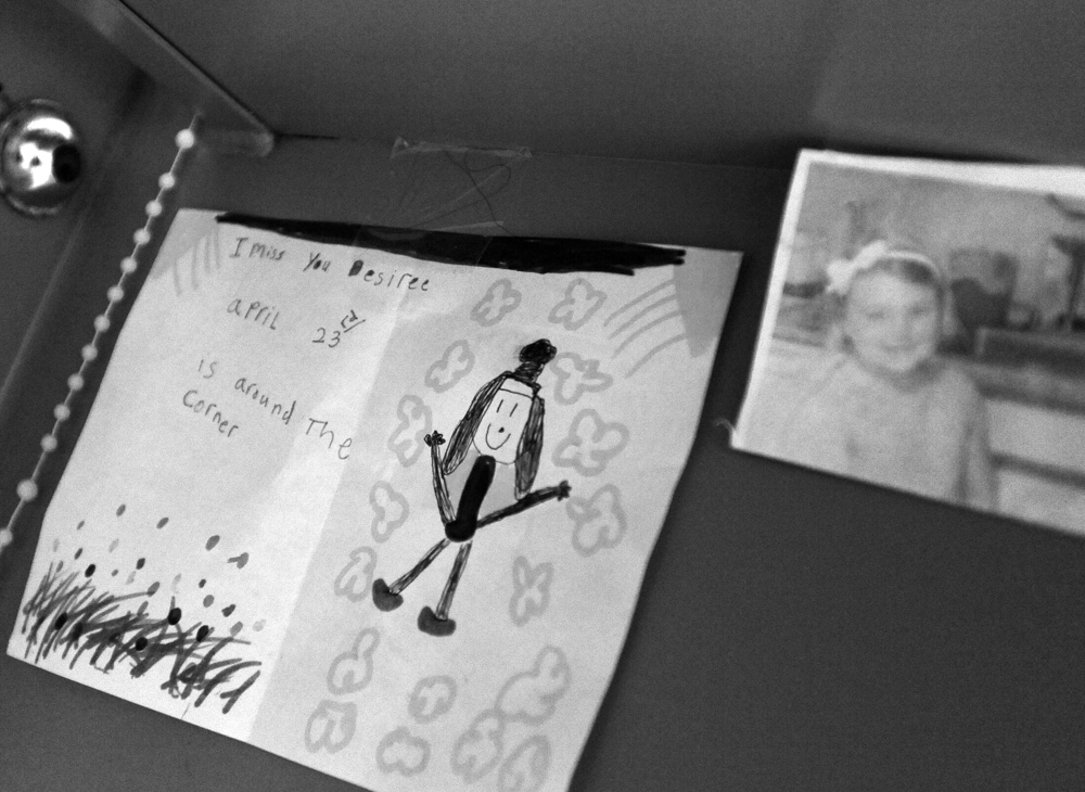 A  drawing from Desiree Azarian's niece taped to her bunk at Barnstable County Correctional Facility.