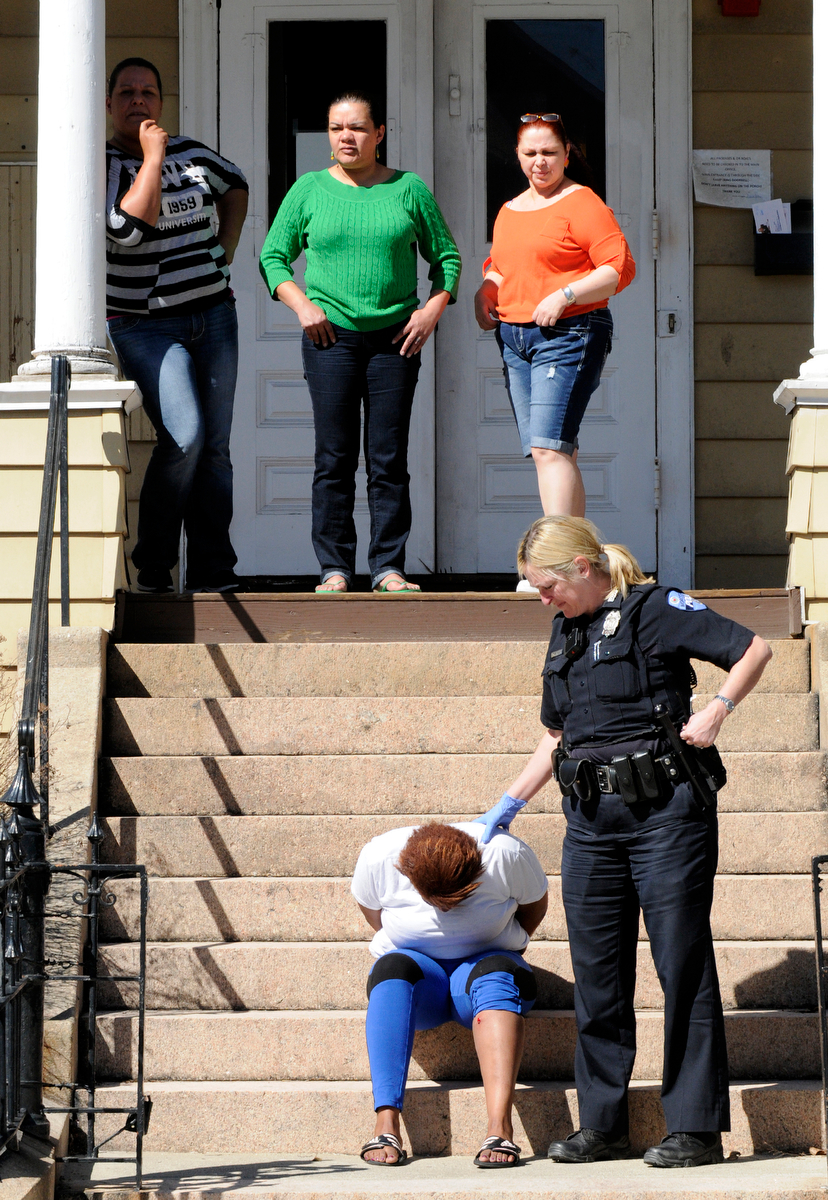 A suspect arrested at the Friendly House Shelter, 87 Elm Street, in connection with stabbing in front of the former PIP shelter on Main Street on Wednesday, April 15, 2015.