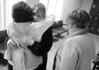 Desiree Azarian hugs Bridge to Hope director Linda Bradstreet and her mentor Marilyn Lariviere of Hyannis after her release from the Barnstable Correctional Facility after her 20-month sentence for her 5th OUI.
