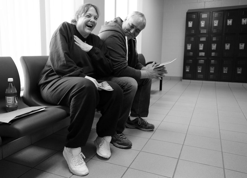 Desiree Azarian laughs with her boyfriend Paul Carrigan of East Falmouth as she waits for paperwork to come through upon her release from the Barnstable Correctional Facility after her 20-month sentence for her 5th OUI.