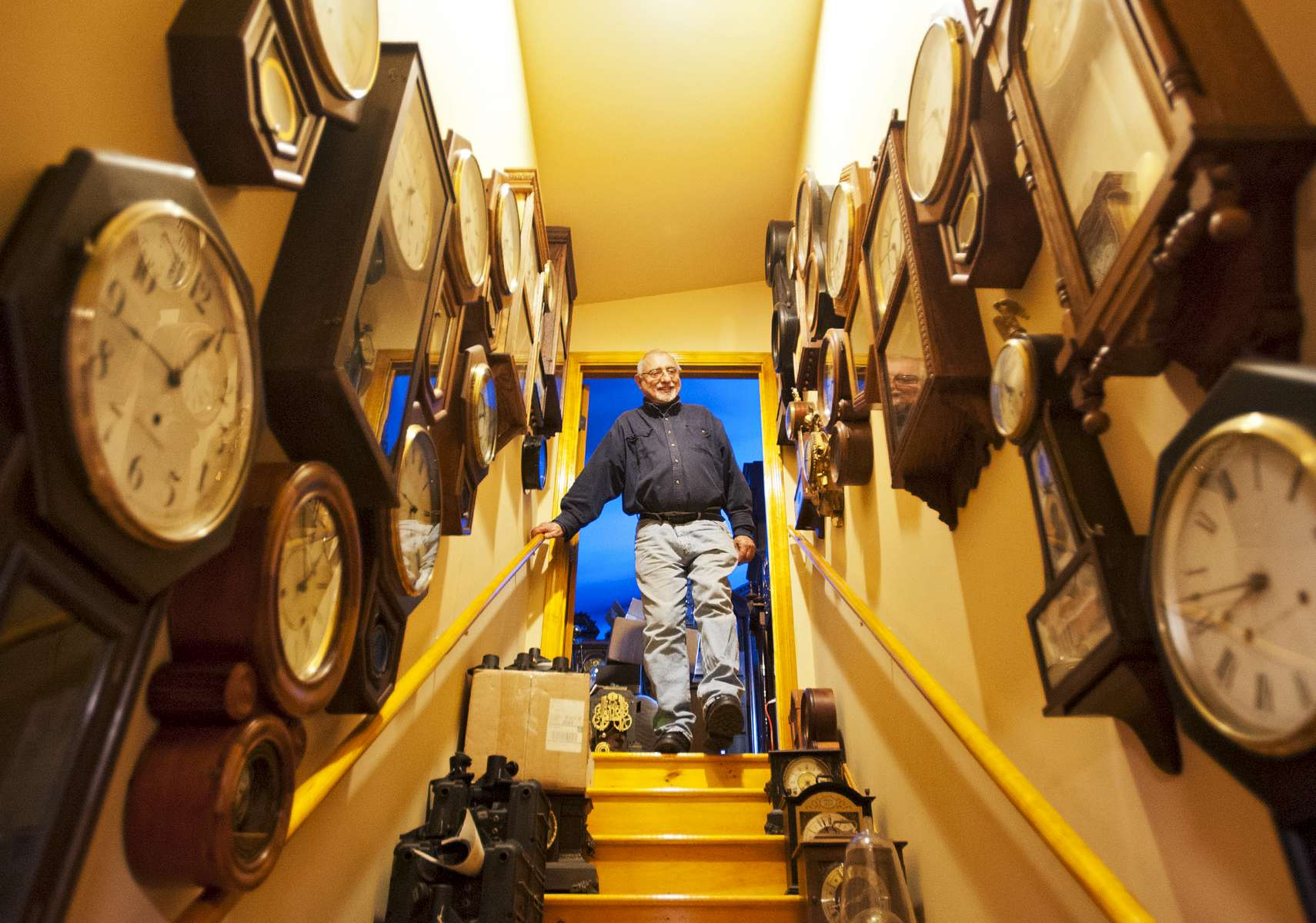 Joseph Tortorelli shows his collection of over 500 clocks at {quote}This Old Clock Shop{quote} on Friday, March 11, 2016. He said his fascination with clocks began when he was 8-years-old working the paper route. He would pass by secondhand stores and started collecting crank-up records and old clocks intrigued by the mechanical parts and sounds they made.T&G Staff/Christine Hochkeppel