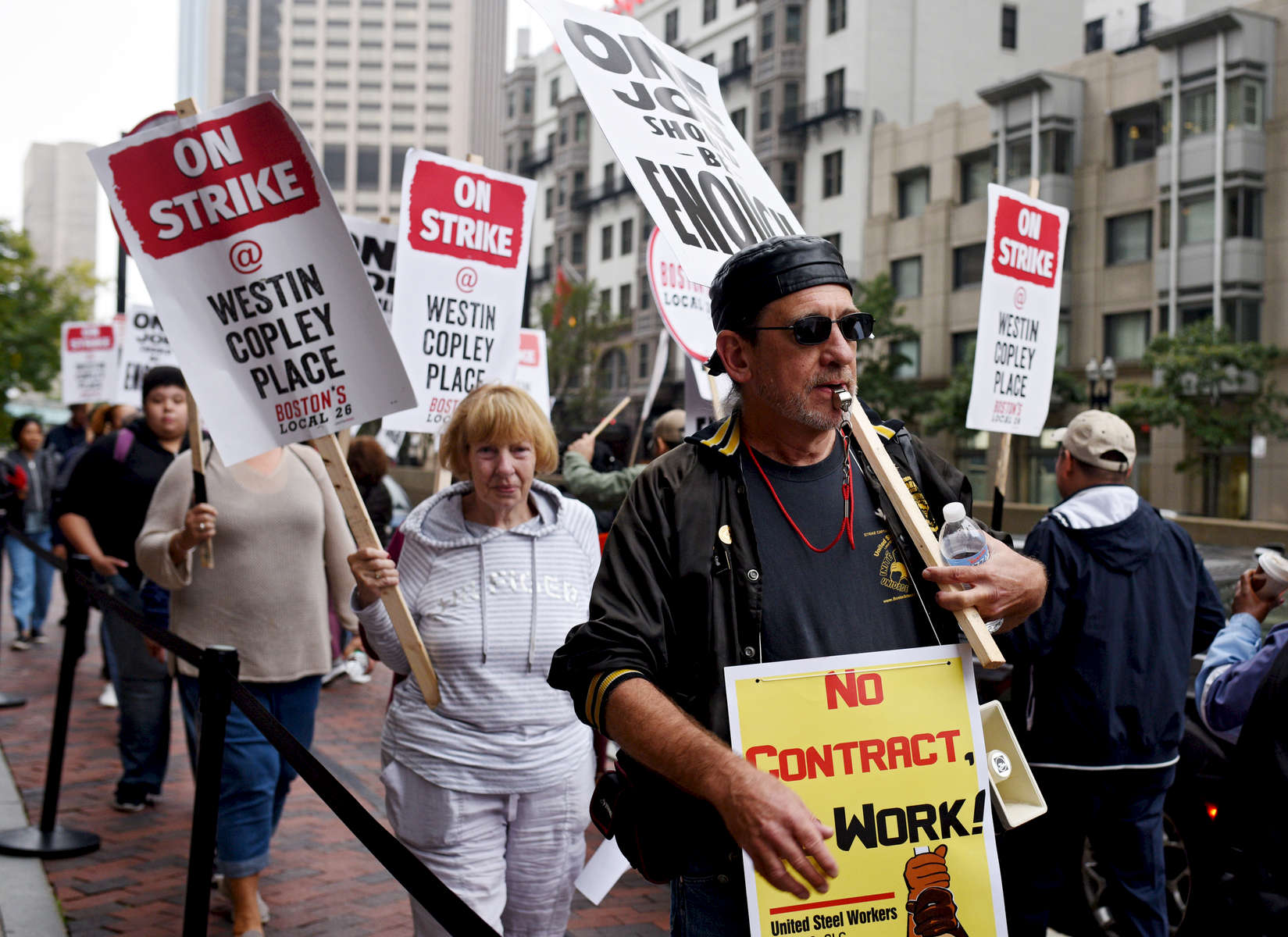 BOSTON -- 100418 -- UNITE HERE Local 26 union workers on strike, Thursday, October 4, 2018. Photo by Christine Hochkeppel