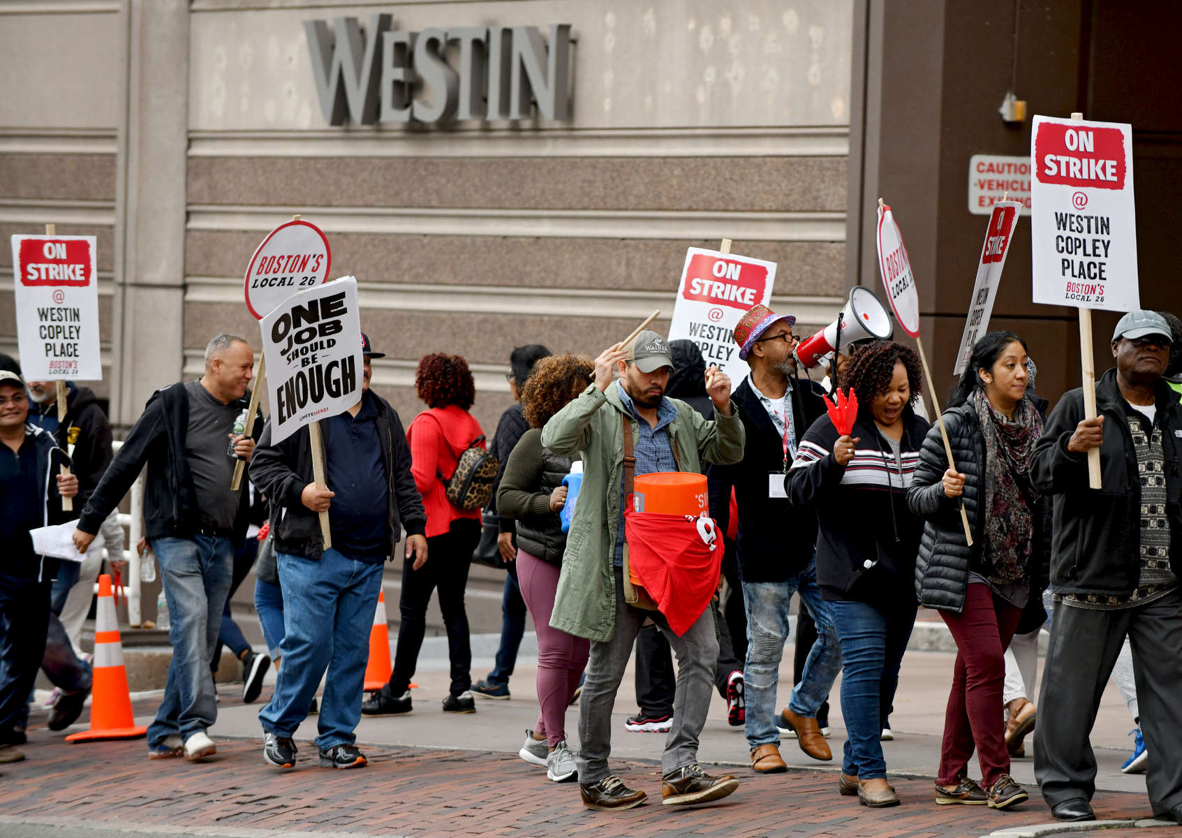 BOSTON -- 100418 -- UNITE HERE Local 26 union workers on strike, Thursday, October 4, 2018.
