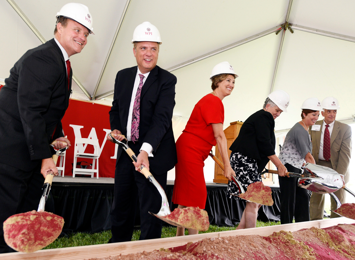 From left, State Sen. Michael Moore, Worcester mayor Joseph Petty, WPI president Laurie Leshin, Francesca Maltese, vice president of the board of trustees, Rachel M. Delisle, WPI alumni association president and Warren S. Fletcher, chairman of the George I. Alden Trust groundbreaking ceremony for WPI's Foisie Innovation Studio. © Christine Hochkeppel