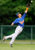 Hyannis Harbor Hawk shortstop Richie Pedroza (5) jumps up to try and grab a hit from Cotuit but just misses.