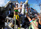 PROVINCETOWN -- 082114 -- The Crown and Anchor float in the 36th Annual Carnival parade with the theme Comic Book Capers.