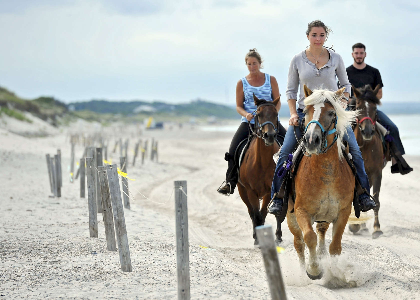 Hayley Pierce of Morris County, N.J., front, horseback rides with her boyfriend Brett Andrea, right, and Linda Roust of Ridge Valley Stables in Grafton and on Sandy Neck Beach.