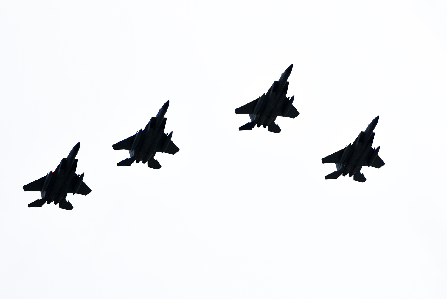 HYANNIS - Four F-15s from 104th Fighter Wing of the Massachusetts Air National Guard fly over Cape Cod Hospital honoring frontline workers on Wednesday, May 6, 2020. Operation American Resolve also flew over facilities in Brockton, Boston, Framingham, Worcester, Springfield, Holyoke, Northampton and Westfield.