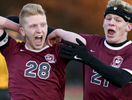 Westboro's Spencer Nagi celebrates scoring the game-winning goal with teammate Thomas VonDerVellen for their overtime win defeating Wachusett 2-1 in the Division 1 title on Friday, November 11, 2016. T&G Staff/Christine Hochkeppel