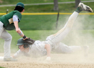 BOLTON - Wachusett's Liam Griffin dives safely into second as Nashoba's Ben Seeto applies the late tag on Wednesday, May 3, 2017.