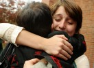 Rachel Garis, a college friend of Matthew's, hugs Emerson College artist in residence Mirta Tocci, one of Matthew's most influential mentors, outside St. John's Episcopal Church after the memorial service on Thursday, November 12, 2009