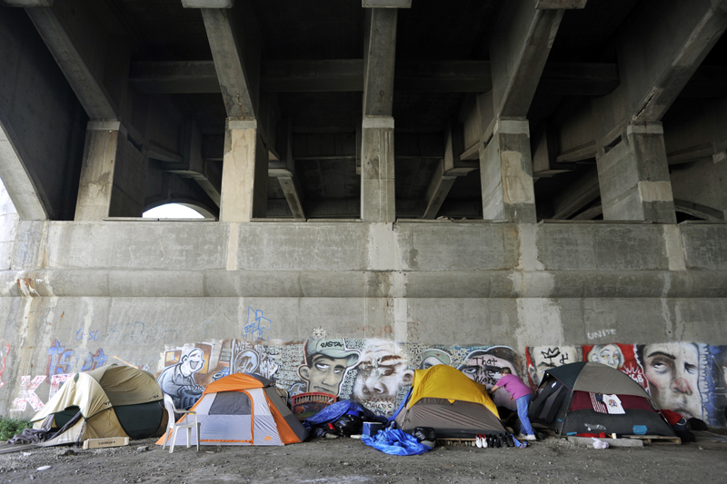 During Camp Runamuck's highest volume of inhabitants under the Washington Bridge, there were about 12 tents scattered throughout the area.