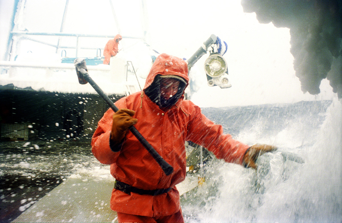 Crewman Jeff Newton braces as a wave splashes over the side of the crab fishing vessel {quote}Kiska Sea{quote} as it fishes for opilio crab in the Bering Sea in January and February of 1995.  Also known as freezing spray, waves and wet sea air slam into the boat freezing on impact causing ice to cover the boat.  Newton is carrying a sledgehammer which he is using to beat the ice off the sides of the boat. Boats covered in ice become top heavy and are in danger of rolling over. The Bering Sea is known for having the worst storms in the world. Crab fishing in the Bering Sea is considered to be one of the most dangerous jobs in the world. This fishery is managed by the Alaska Department of Fish and Game and is a sustainable fishery.  The Discovery Channel produced a TV series called {quote}The Deadliest Catch{quote} which popularized this fishery. © copyright Karen Ducey