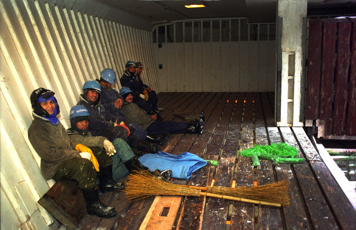 Crewmen onboard a tramper, M/V Kashiwagi in Dutch Harbor, Alaska in February 1996. Trawl catcher vessels initially catch the fish in larges nets which drag along the ocean floor. It is then brought back to port, processed in a seafood processing plant and delivered to trampers who ship the product around the world. © copyright Karen Ducey