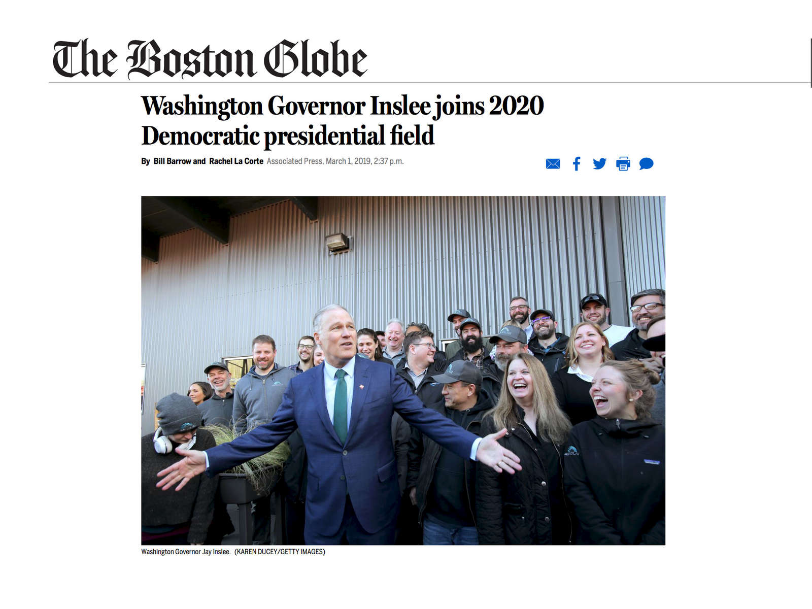 Washington Governor Inslee joins 2020 Democratic presidential field.  Photos for Getty Images March 1, 2019.
