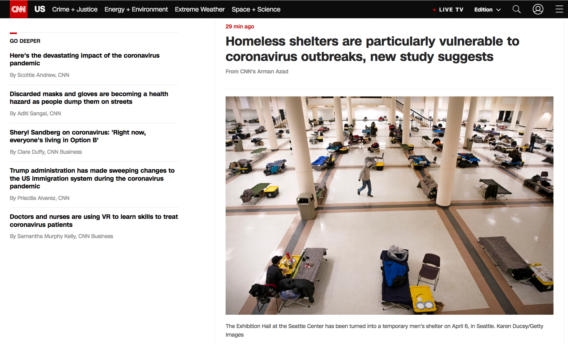 {quote}Homeless shelters are particularly vulnerable to coronavirus outbreaks, new study suggests{quote}, for Getty Images published on CNN on April 22, 2020.