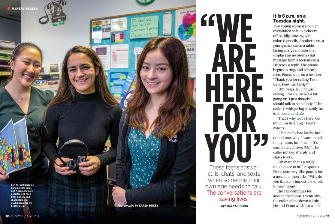 Photos for Scholastic magazine, Choices, April 2019