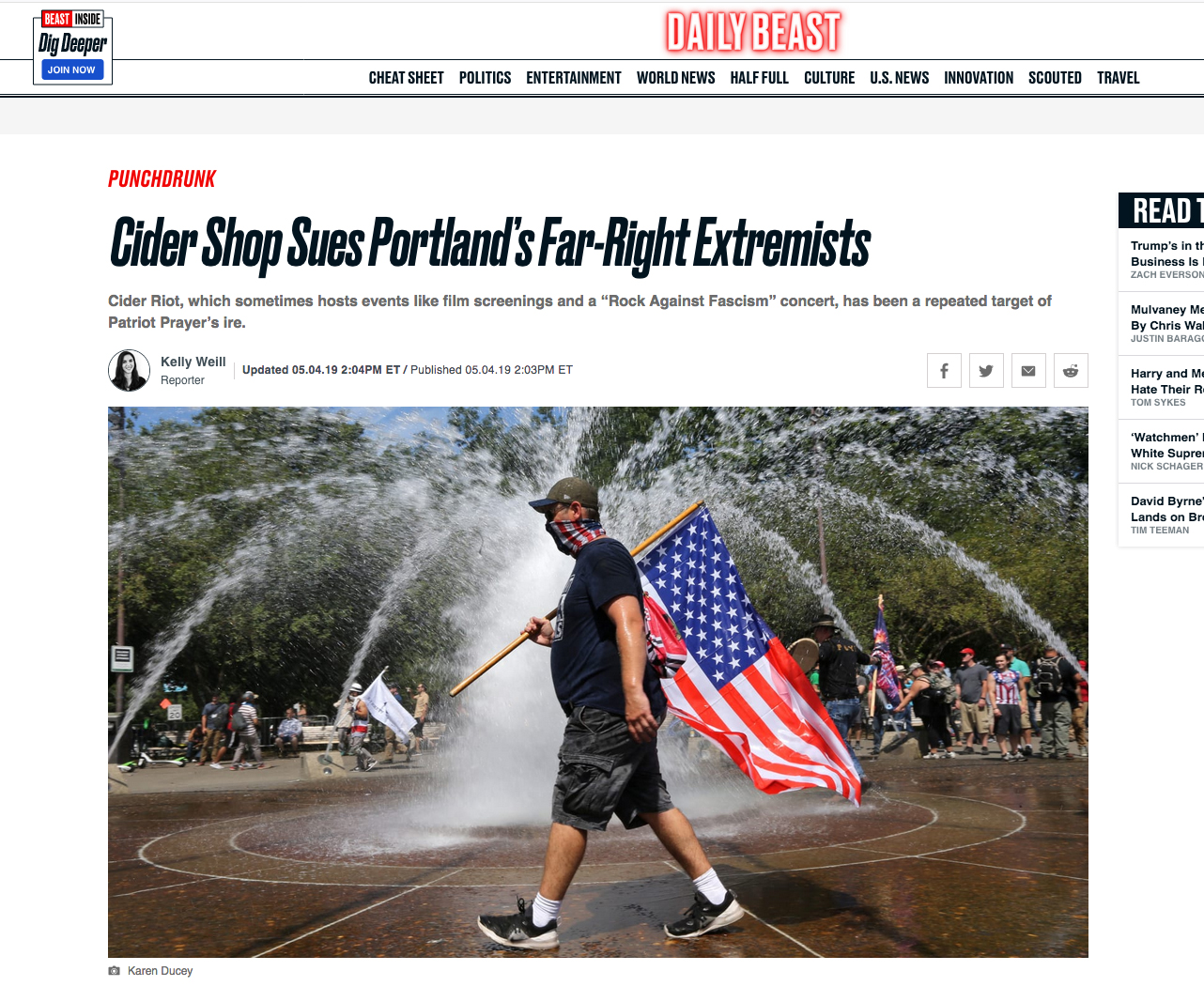 {quote}Cider Shop Sues Portland's Far-Right Extremists{quote}, Newsweek, May 4, 2019