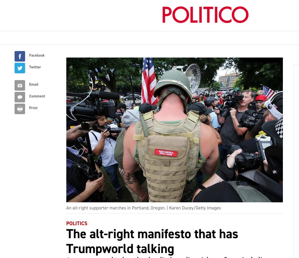 Politico, August 23, 2019, {quote}The alt-right manifesto that has Trumpworld talking{quote}
