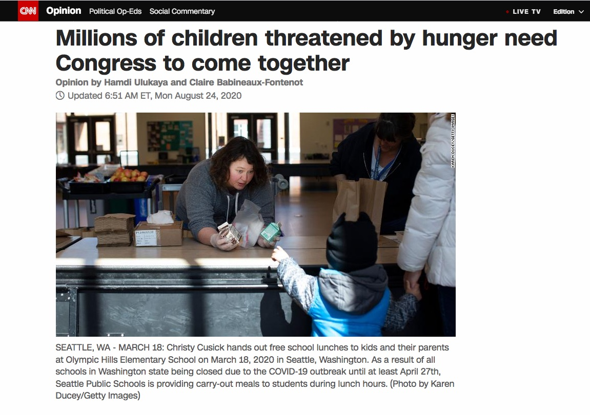 """Millions of children threatened by hunger need Congress to come together""  CNN, August 24, 2020."