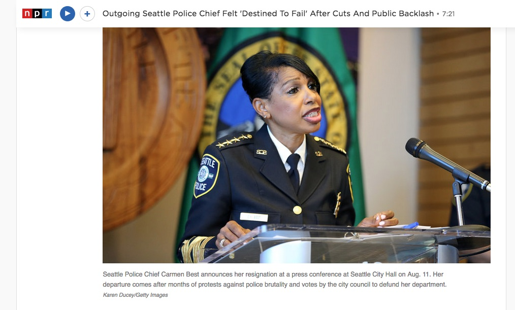 """""""Outgoing Seattle Police Chief Felt 'Destined To Fail' After Cuts And Public Backlash""""  for Getty Images, Published on NPR, All Things Considered, September 2, 2020"""