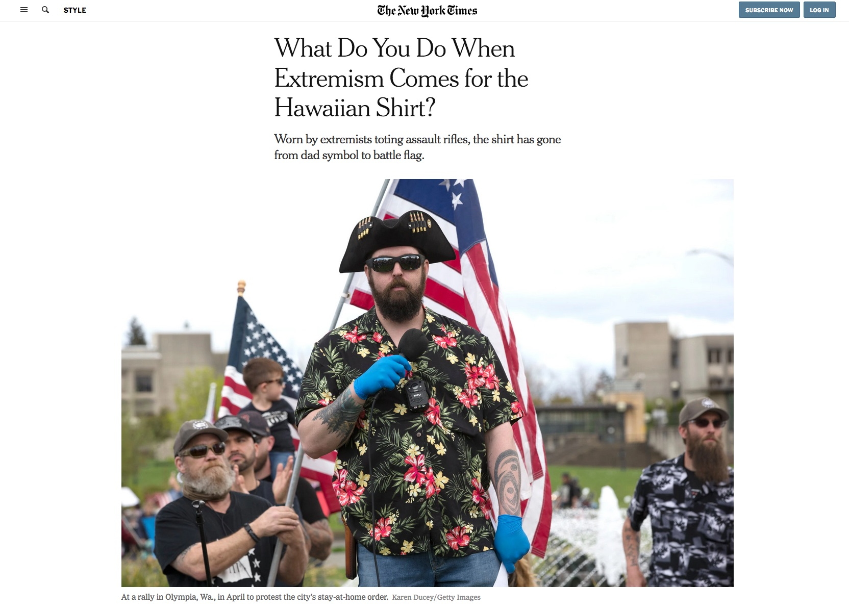"{quote}What Do You Do When Extremism Comes for the Hawaiian Shirt?"" The New York Times, June 29, 2020."