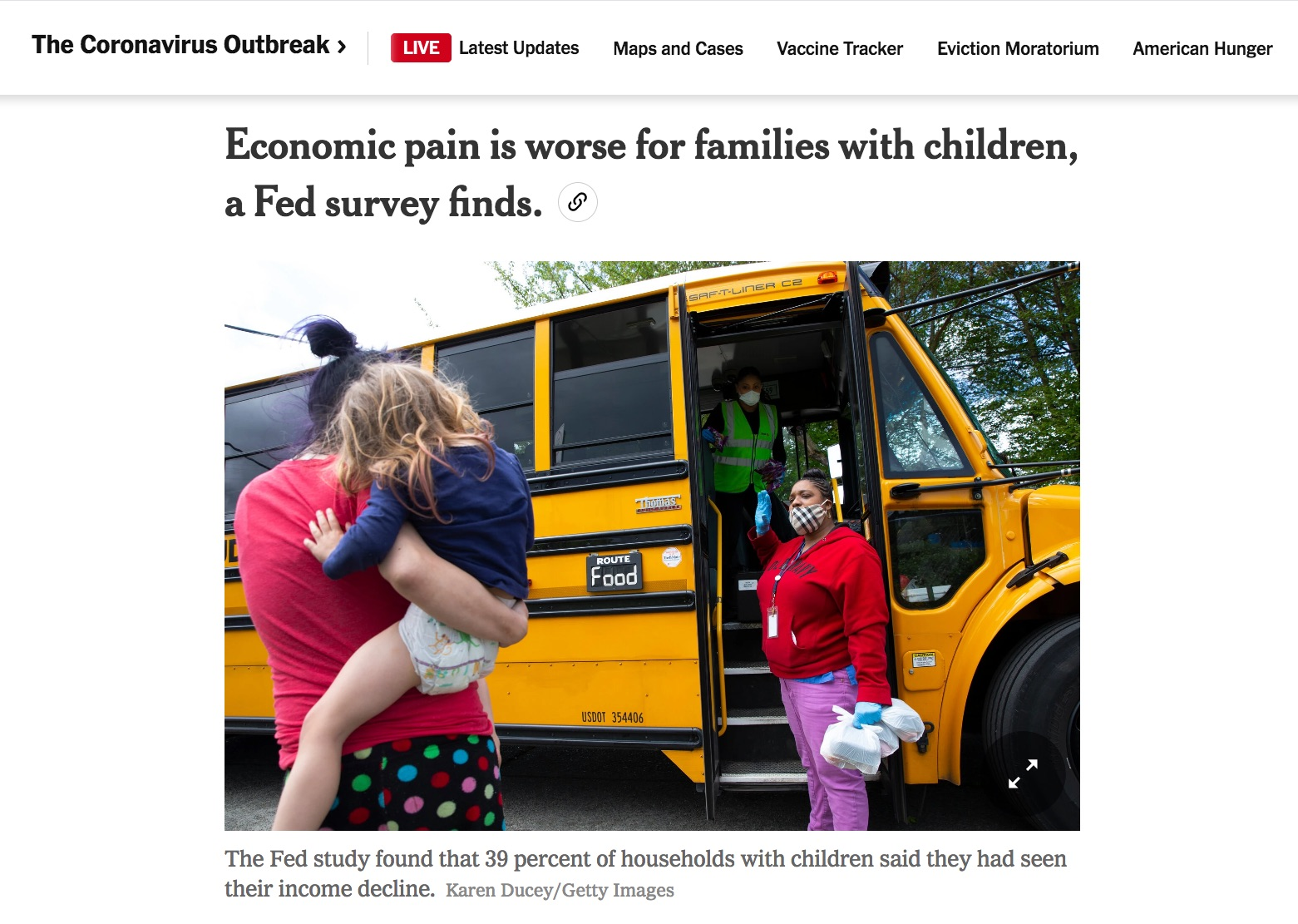 Economic pain is worse for families with children, a Fed survey finds, for Getty Images, Published in the New York Times, August 13, 2020.