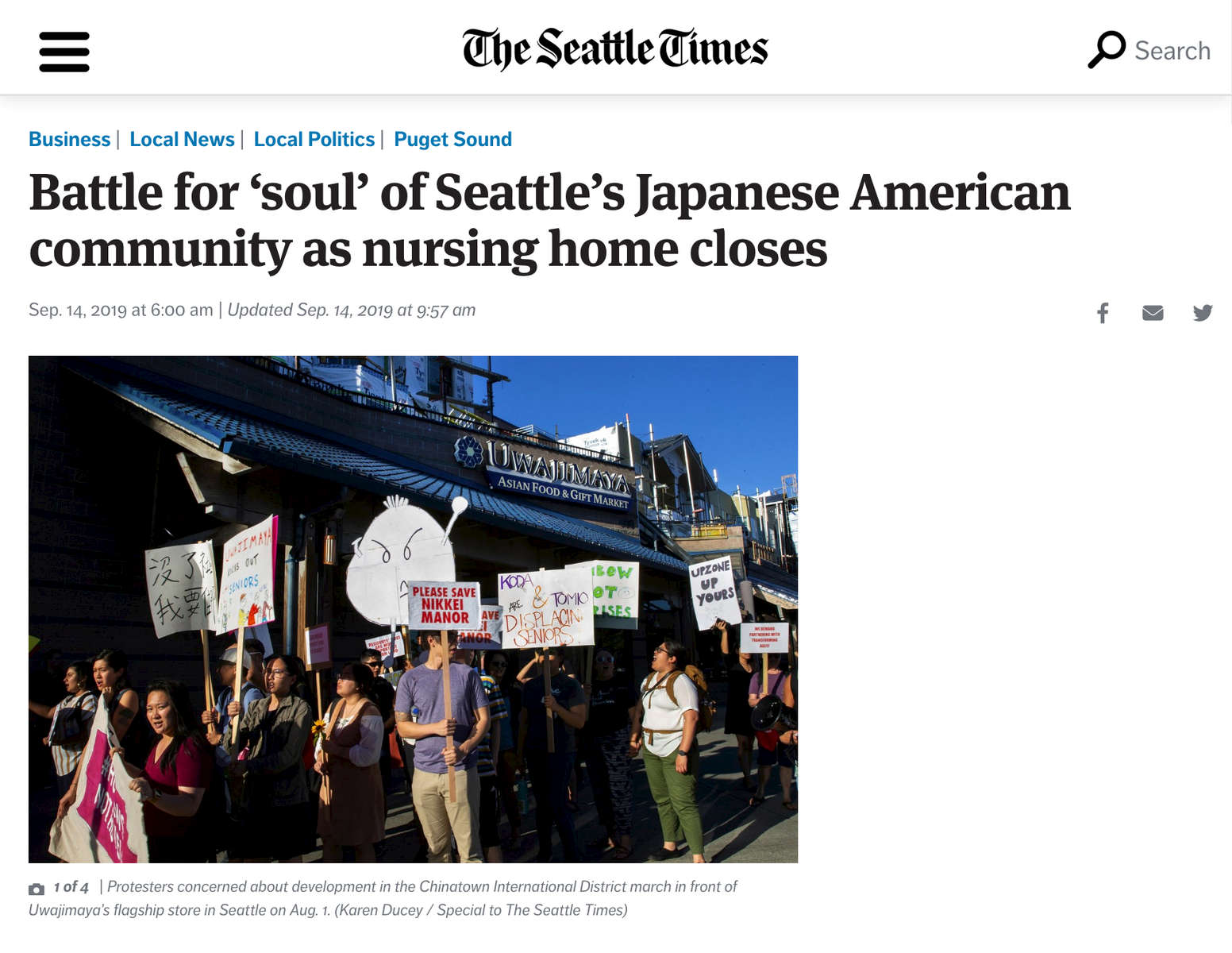{quote}Battle for 'soul' of Seattle's Japanese American community as nursing home closes.{quote} Photos in the Seattle Times, September 14, 2019.