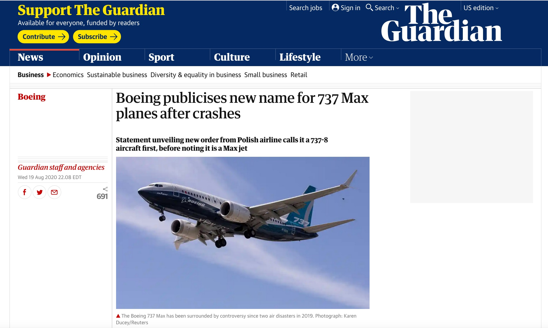 Boeing publicises new name for 737 Max planes after crashes, for Getty Images, published in The Guardian, August 19, 2020.