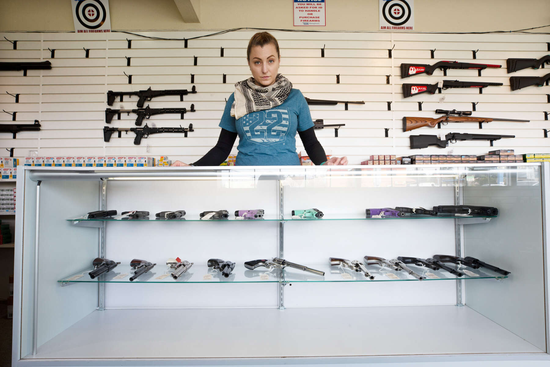 LYNNWOOD, WA - APRIL 02: Tiffany Teasdale, owner of Lynnwood Gun, says guns and ammo have been flying off the shelves, as she stands in front of empty gun racks on April 2, 2020 in Lynnwood, Washington. Washington State Governor Jay Inslee did not list gun stores as essential businesses that can stay open in his Stay-at-Home order to prevent the spread of coronavirus (COVID-19). However, Teasdale and some other gun retail shops say they are following orders by President Trump and state Republicans who advise that the firearms industry can remain open. As a result guns and ammunition has been Second Amendment gun rights advocacy groups are challenging governor's orders around the country to remain open. (Photo by Karen Ducey/Getty Images)