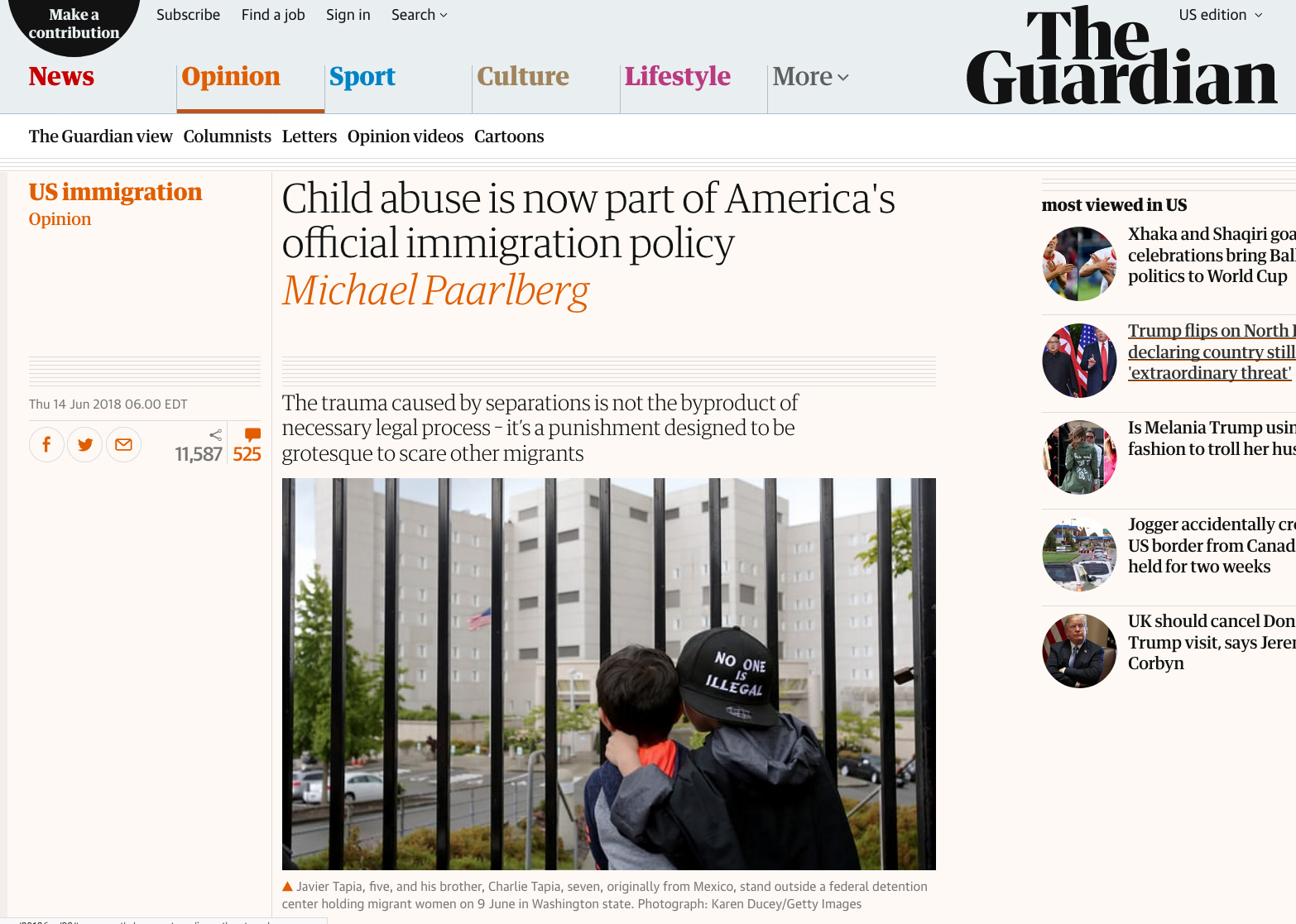 Child abuse is now part of America's official immigration policy Photos for Getty Images, published in The Guardian, June 14, 2018.