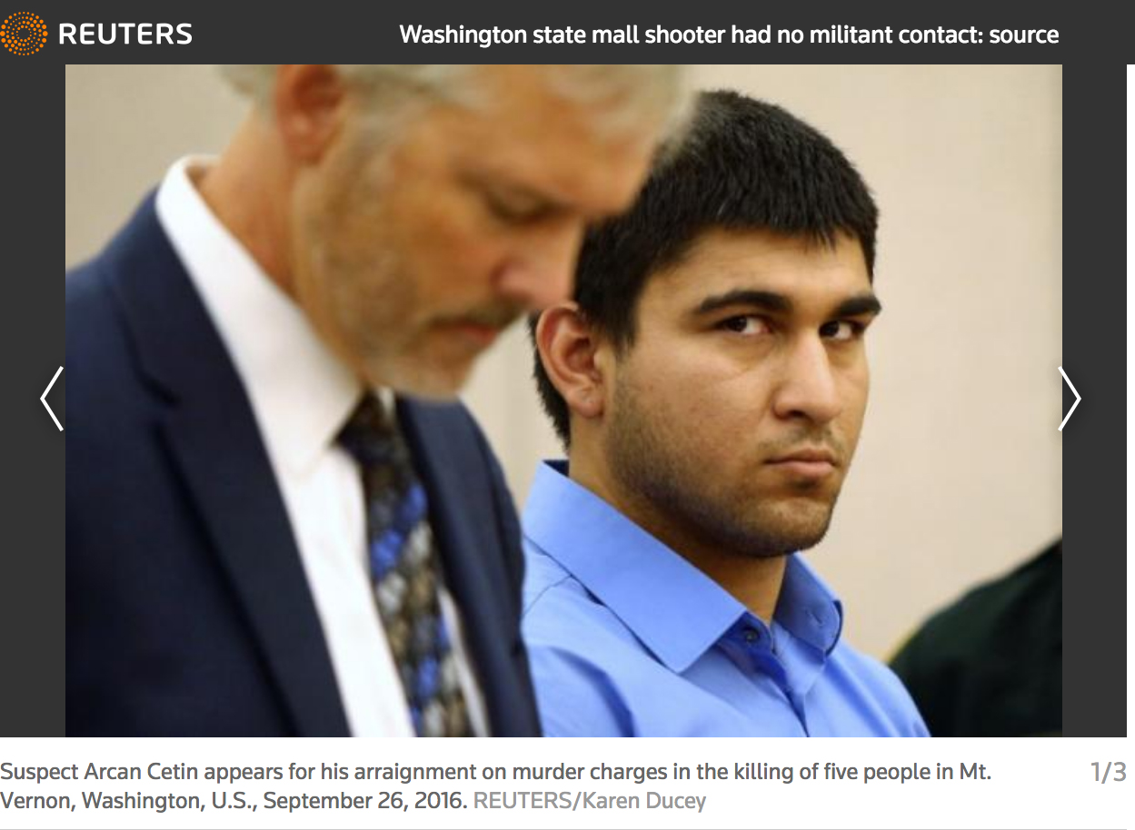 Washington state mall shooter had no militant contact:  September 26, 2016. Photos for Reuters.