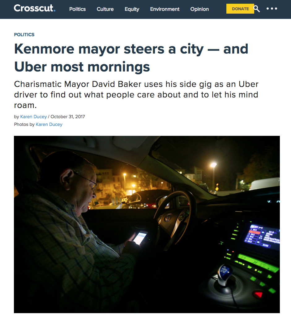 Kenmore mayor steers a city — and Uber most mornings   Story and photographs for Crosscut, October 31, 2017.
