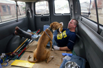 Steve Barr, from Rochester, NY. and a rescued pit bull bond in the back of a van after the dog was rescued by Pasados' volunteers.  © Karen Ducey