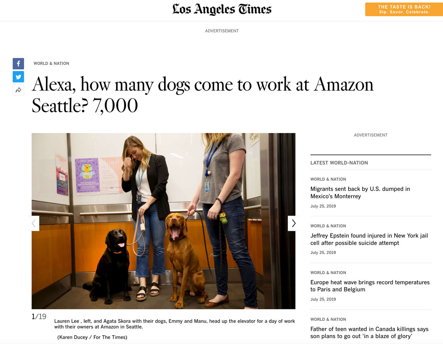 {quote}Alexa, how many dogs come to work at Amazon Seattle? 7,000{quote}  Photos for the Los Angeles Times, June 21, 2019