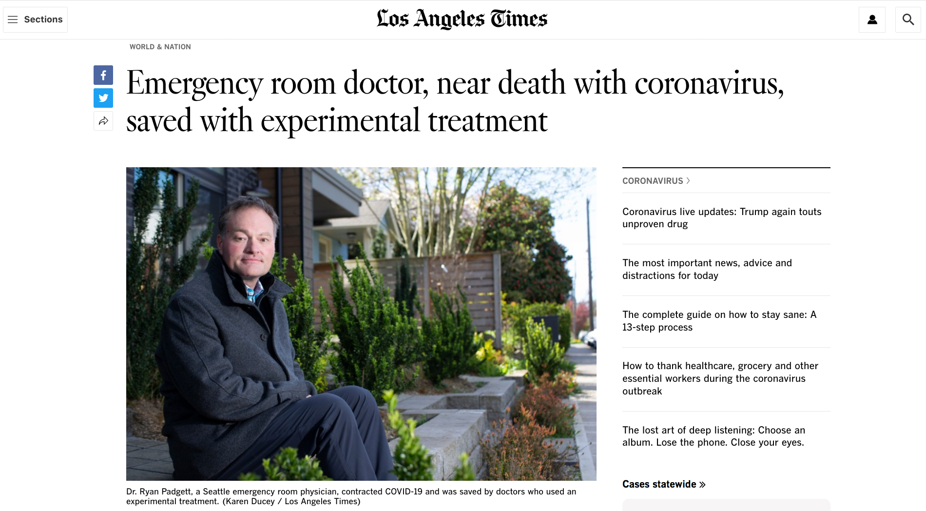 {quote}Emergency room doctor, near death with coronavirus, saved with experimental treatment{quote} Photographed for the Los Angeles Times, April 14, 2020.
