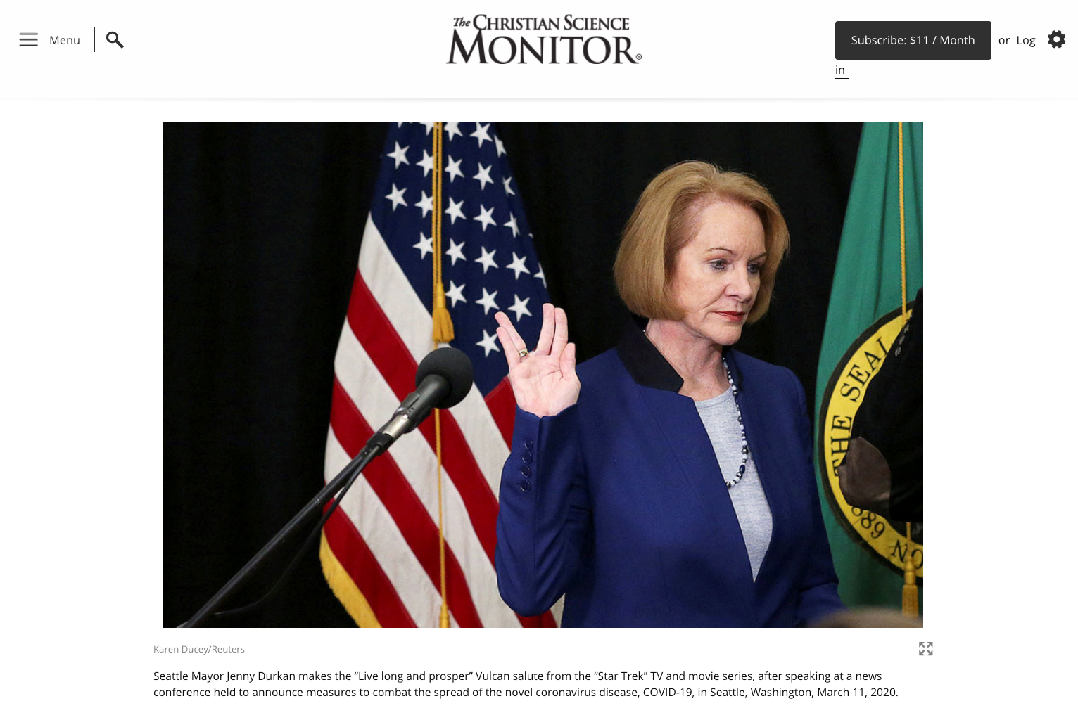 {quote}'I love this city to my bones': How Mayor Jenny Durkan leads Seattle{quote}, Photo for Reuters published in the Christian Science Monitor, March 20, 2020